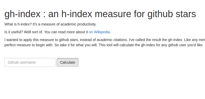 Screenshot of the gh-index webpage