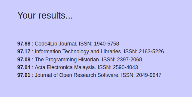A list of results from Open Journal Matcher